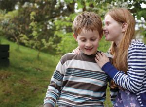 Two children chatting