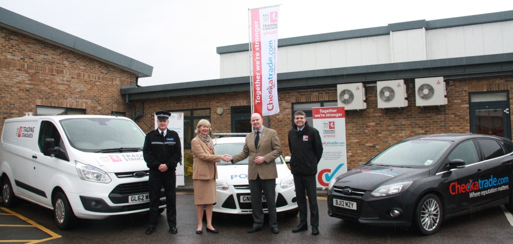 The launch of the Trading Standards and Checkatrade partnership: from the left: Insp Gary Thompson from Kent Police, Sarah Hohler, Kevin Byrne and KCC Trading Standards manager Richard Strawson.