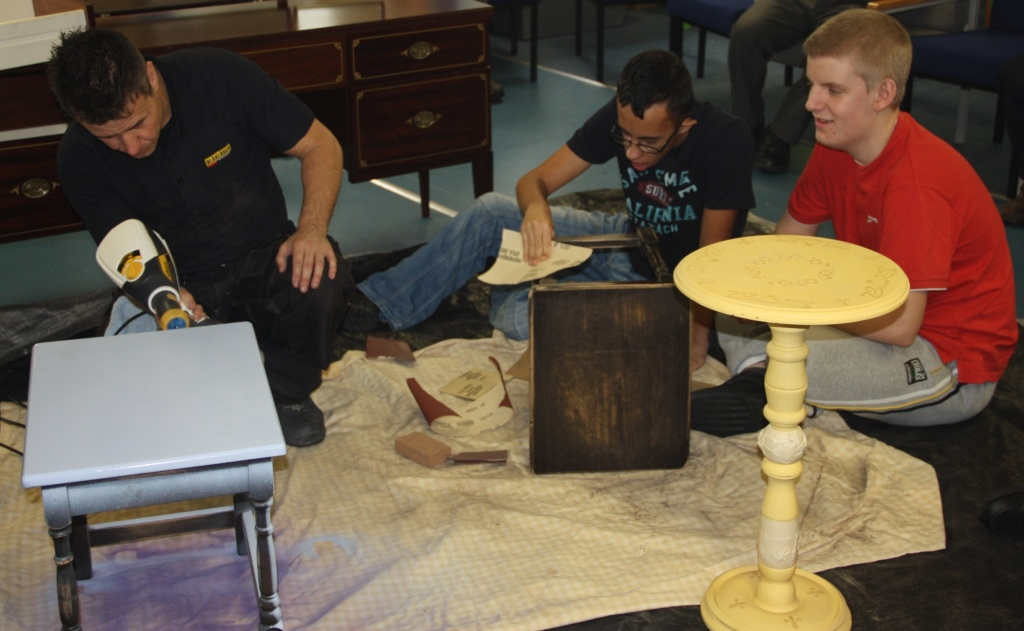 "Linda Barker and Craig Phillips work with Wyvern School pupils on their furniture ""upcycling"""