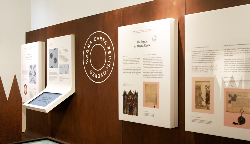 Magna Carta Rediscovered features interactive displays which interpret the importance of the medieval Magna Carta to today's concepts of the freedom of the individual, democracy and society.