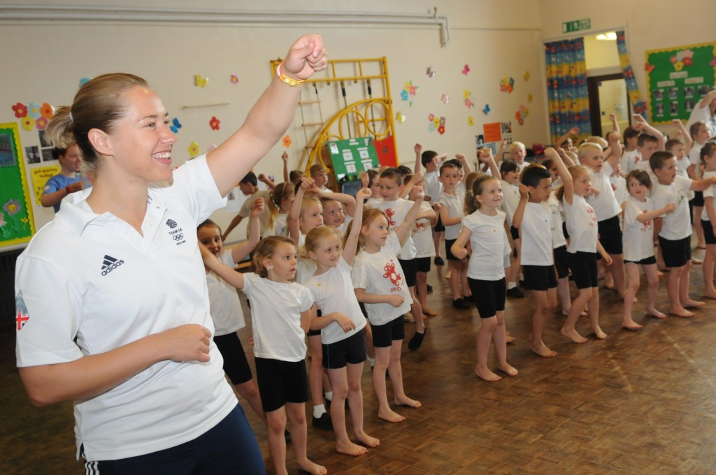 Lizzy Yarnold with Brookfield Infant School Aylesford pupils taking part in the 10 Minute Shake Up routine for Change for Life 7th July 2015 PIC:WAYNE McCABE