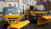 Gritters outside County Hall in Maidstone on Tuesday