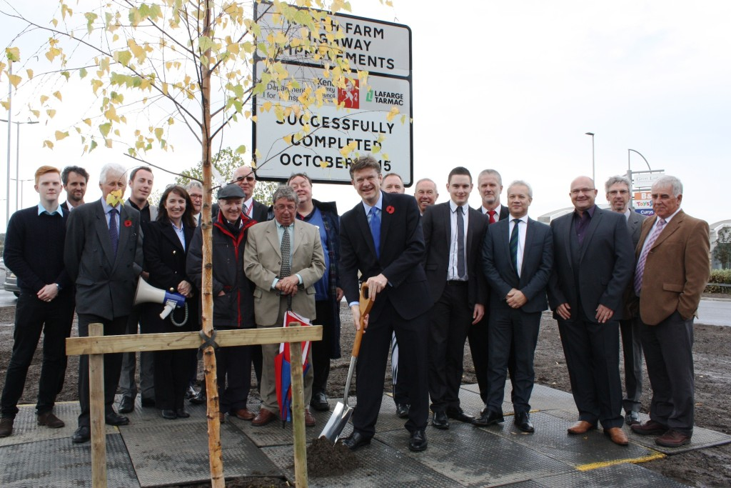 Tunbridge Wells MP Greg Clark, local politicians and business leaders officially marked the opening of the multi-million pound congestion-busting Longfield Road Improvement Scheme by planting a tree.