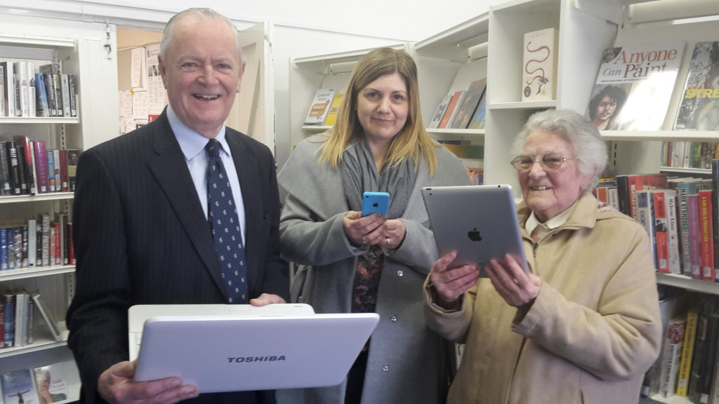 Mike Hill joined library customers this week to celebrate the roll out of free WiFi across the county