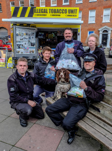 Tobacco detection dog Scamp took part in the detection of illegal tobacco in Margate today