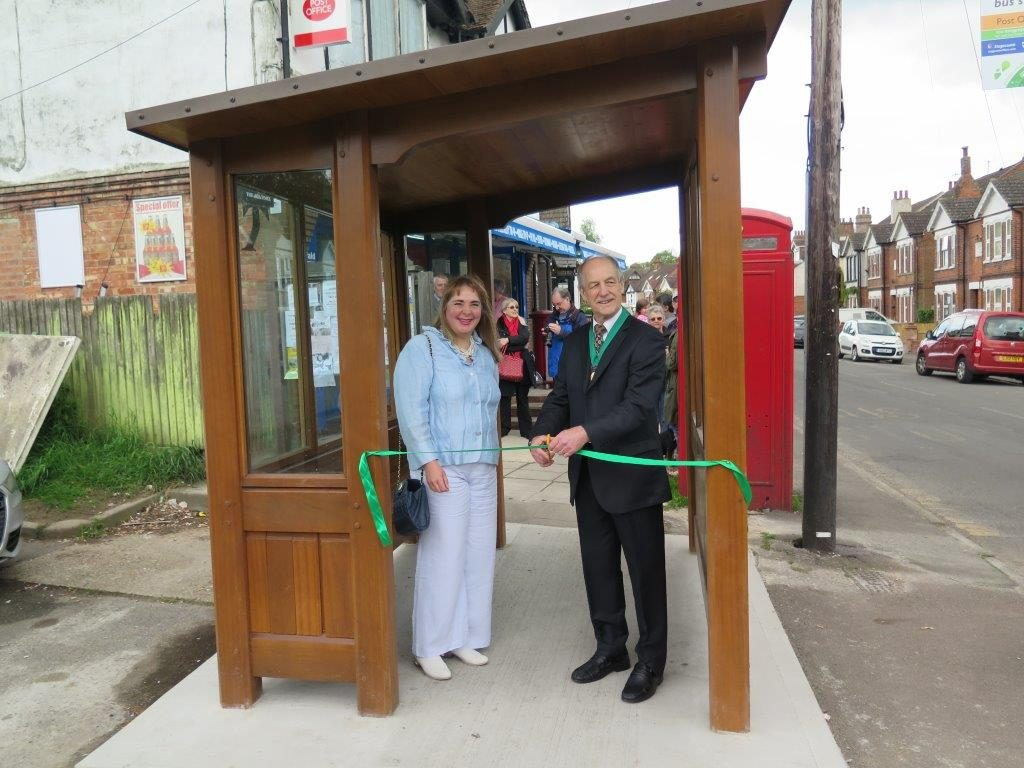 Susan Carey opens the new bus shelter in Lyminge