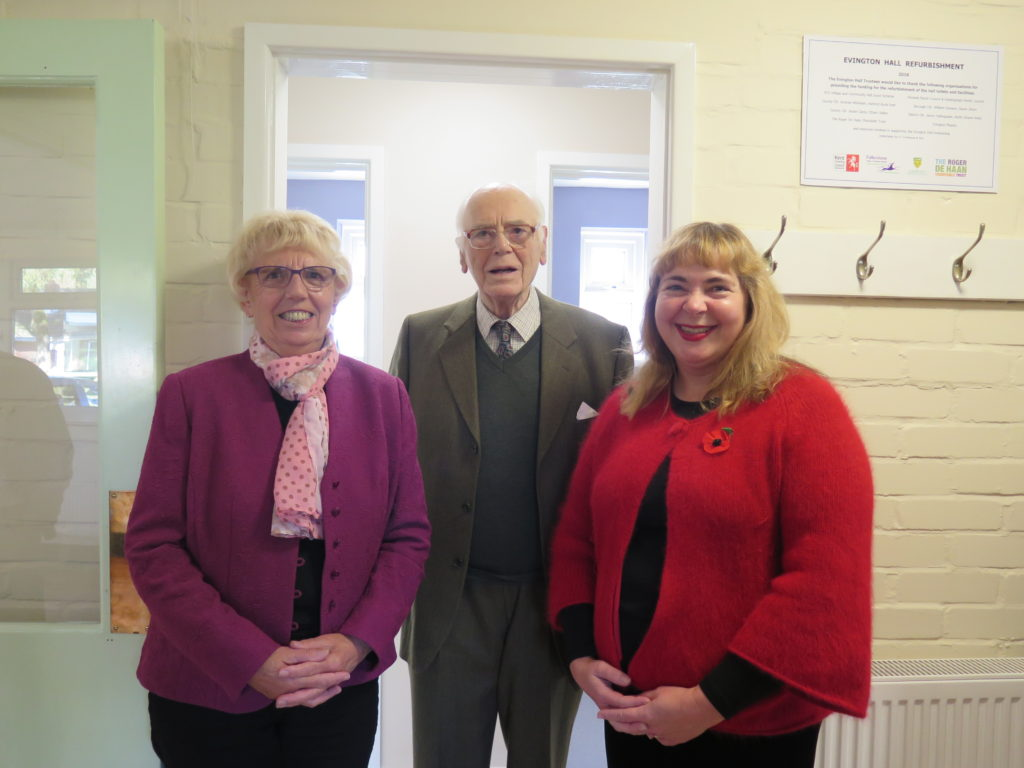 Jenny Hollingsbee, Sir Charles Jessel (one of the founding trustees of the hall) and Susan Carey