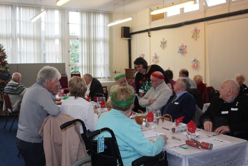 Over 55's enjoying a Christmas meal