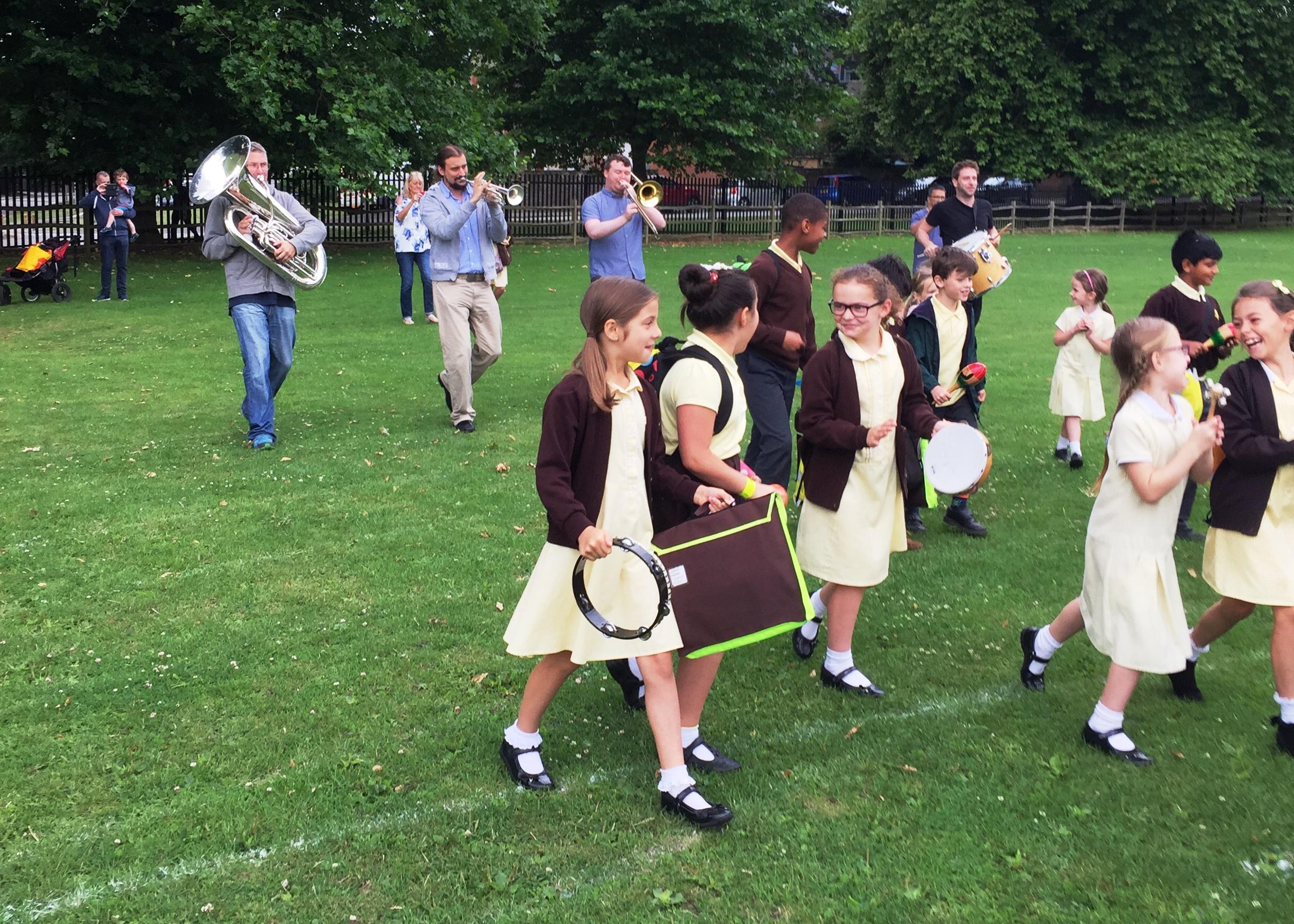 Children walk to school bold as brass